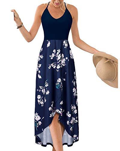 KILIG Womens V Neck Sleeveless Asymmetrical Patchwork Floral Maxi Dresses (Floral-K, M)