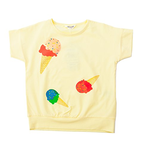 Girls' Ice Cream Printed Summer Short Puff Sleeve Round Neck T-Shirt (2-4Y, Light (Short Round Costumes)