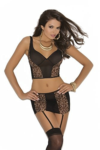 Sexy Women's Sheer Mesh Cami And Matching Skirt With Garters Lingerie Set, Medium, Leopard Leopard Mesh Cami