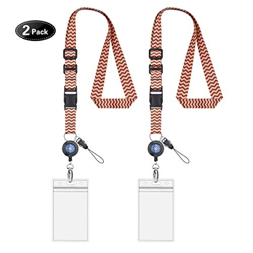 (Cruise Lanyard & Key Card Holders,Adjustable Length Lanyard with ID Holders,Detachable Buckle & Retractable Badge Reels - 2 Packs (Orange Stripe))