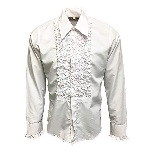 ZenRetro Mens Ruffle Ruche Frill Tuxedo Shirt White 4XL]()