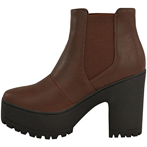 Fashion Thirsty Womens Chelsea Ankle Boots Chunky Platforms Block High Heels Slip On Size Brown Faux Leather