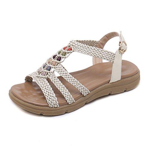Bohemia de Sandalias Abierta Mano YMFIE Antideslizantes Playa señoras Ocasionales de Cuentas de Las Ocasionales a Tejida Verano con Vacaciones Zapatos A 4p5npwSq