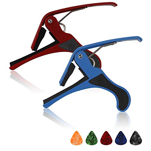 Vetoo 2 Pack Guitar Capo, Universal Capo for Acoustic, Electirc Guitars, Ukulele, Classical, Bass, with 5 picks