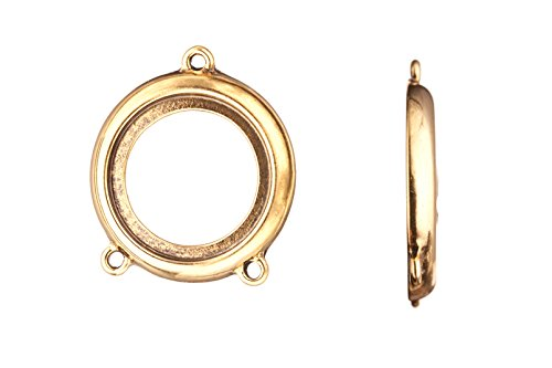 (Pendant with Connector, Antique-gold Finished Fancy Cut Opened Round Cabochon Setting 30x26mm Fits 20mm Cabochon)