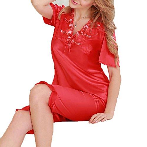 YUYU De las mujeres Clásico Puro Mora Seda Pijama Conjunto Manga corta Encaje con idea de regalo , red , l