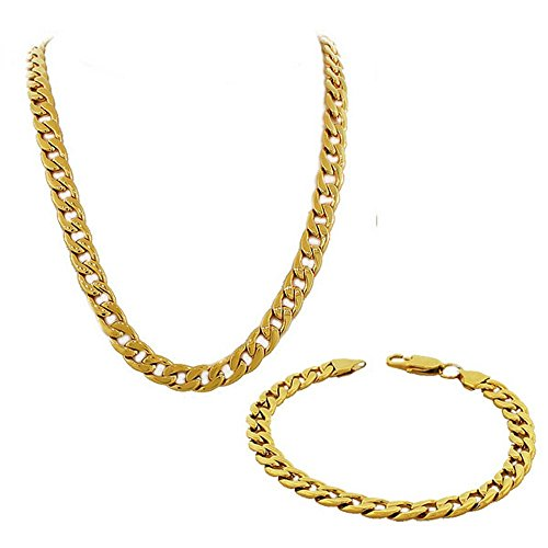 My Daily Styles Stainless Steel Yellow Gold-Tone Mens Classic Cuban Link Chain Necklace Bracelet Set