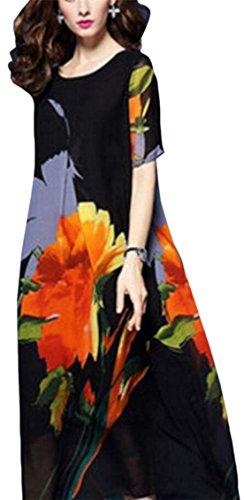 Over Black Short Silk Floral Fit Crew Loose Size Sleeve Neck Dress Jaycargogo Women aq7Ix0