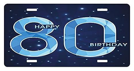 Amazon Com Ambesonne 80th Birthday License Plate Diamond