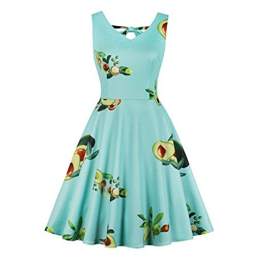 Wellwits Womens Back Tie V Neck Tropical Fruit Avocado Print Vintage Dress