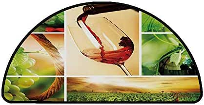 Wine Comfortable Semicircle Mat,Wine Tasting and Grapevine Collage Green Fresh Field Pouring Drink Delicious Decorative for Living Room,21.6