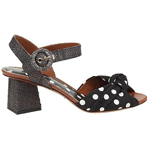 Dolce&gabbana Women's Black Leather Fabric High Heel Sandals Shoes - Size: 40 EU Dolce & Gabbana High Heel Heels