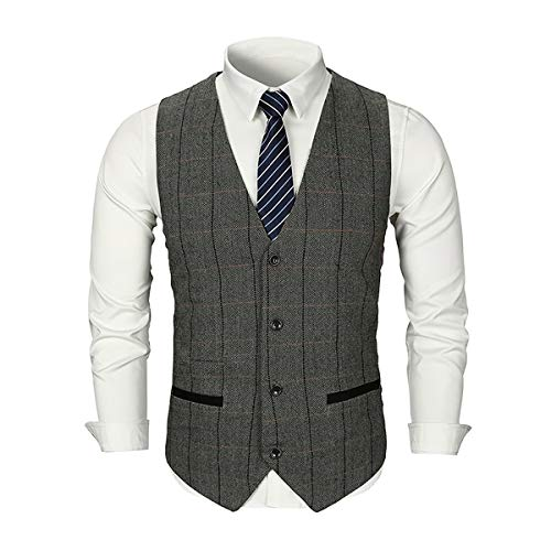 Mens Slim Fit Plaid Tweed Suit Vest Woolen Formal Wedding Casual Waistcoat Button Down Tailored Tuxedo Vest Light Grey