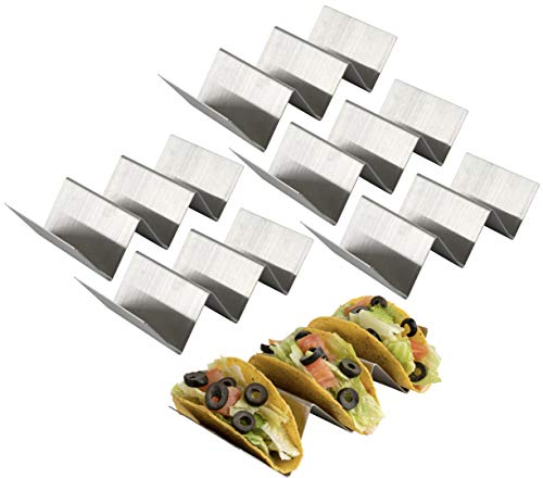 Olivia and Aiden Taco Holder Stands (6-Pack) Stainless-Steel Hard & Soft-Shell Use   Reusable, Kid Friendly, Hands-Free   Upright, Easy-to-Pack   Oven and Grill Safe ()