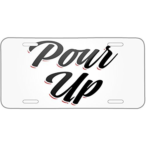 Vintage Lettering Pour Up Metal License Plate 6X12 Inch