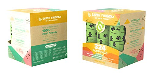 Earth Friendly Poop-Bags,18 Rolls/324 9x13 Bags, Dog Waste Bags Unscented, Leak-Proof, Easy Tear- Off