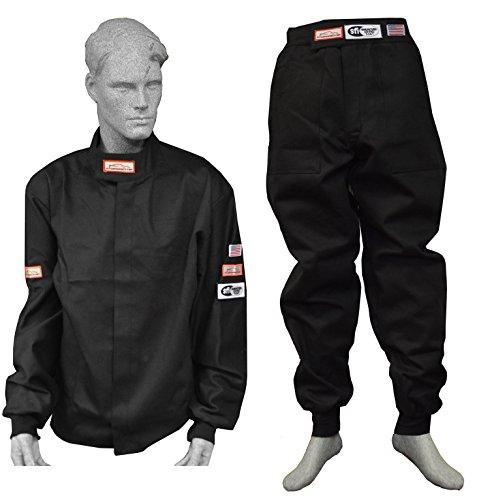 Race 1 Piece Suit (Racerdirect.net Race Suit Fire Suit 1 Layer Jacket & Pants 2 Piece Adult 2X Black)