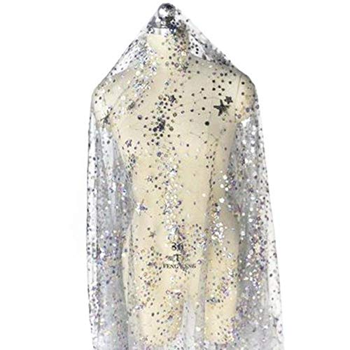 Fabric - 130x50cm Embroidered Tulle Fabric Sequins Tulle Lace Fabric Net Wedding/Evening/Show Dress Lace Fabric (Silver Gray) ()