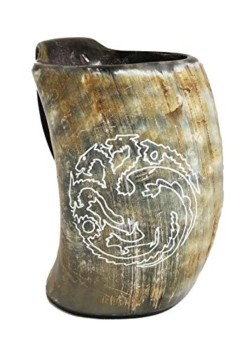 AleHorn the Original Handcrafted Authentic Viking Drinking Horn Tankard for Beer Mead Ale 100 Genuine Medieval Inspired Stein Mug Food Safe Vessel With Handle XL Dragon