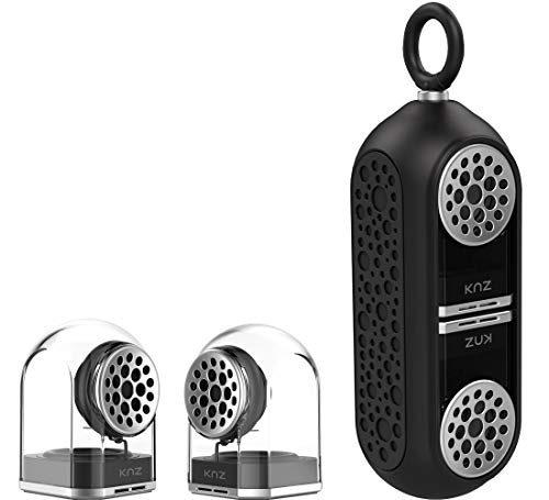 KNZ GoDuo Portable Bluetooth Speakers with Magnetic Connectable Base, L/R True Stereo Sound and Bass, Water and Shock Resistant, 18 hr playtime, Built-in Mic, Protective Carrying Case Included (Black) - Innovative Audio Shelf Systems