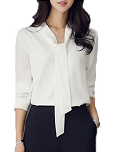 En Blouse Tops Longues Shirt Slim Femme White Cravate Tee Shirt Manches Uxq08Btn