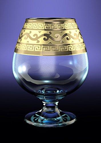 CRYSTAL GLASS SNIFTER GLASSES 13oz./400ml. PLATINUM PLATED SET OF 6 COGNAC BRANDY ARMAGNAC CALVADOS WHISKEY GLASSES ENGRAVED VINTAGE GREEK DESIGN CLASSIC STEM GOBLETS