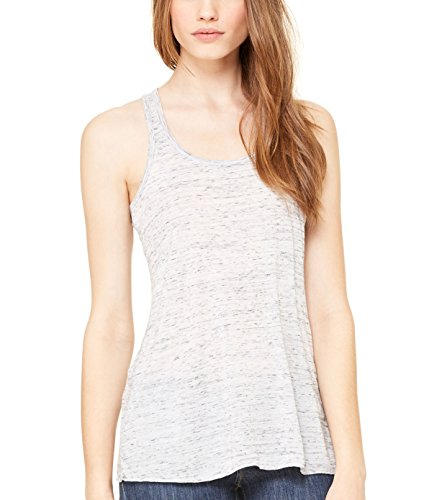(Bella + Canvas Womens 3.7 oz. Flowy Racerback Tank (B8800) -WHITE MARB -XS)