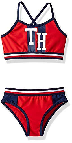 Red Suit For Kids (Tommy Hilfiger Big Girls' Two-Piece Swimsuit, Chinese red, Large)
