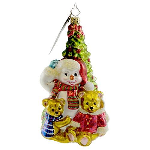 - Christopher Radko TEDDY FROST TREE Blown Glass Ornament Snowman Bear Tree