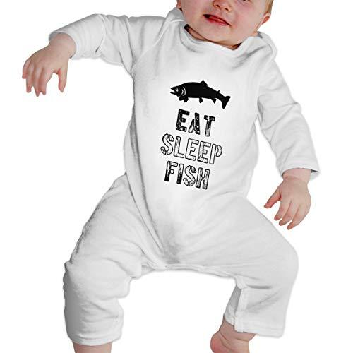 Fish Crawler Harness - MamiHa Eat Sleep Fish Baby Unisex Long Sleeve Bodysuit 100% Cotton Onesies for Baby Boy's and Girls