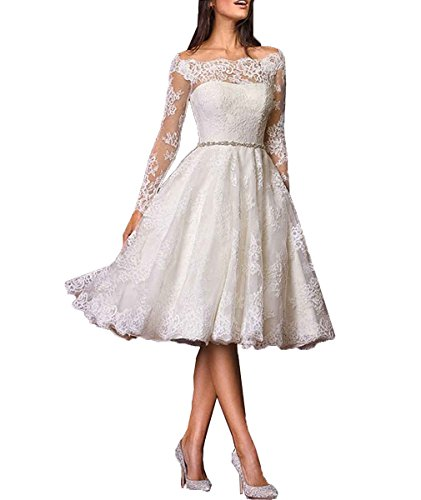 Jqld Womens Lace Knee Length Wedding Dress Long Sleeve Off Shoulder Bridal Gown Us20 Ivory