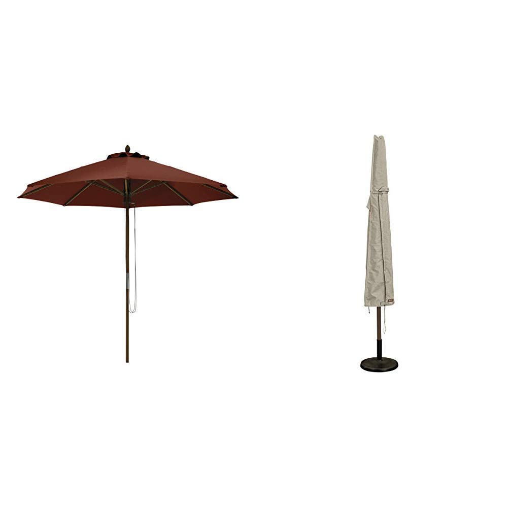 Classic Accessories Montlake FadeSafe 9-Foot Round Bamboo Patio Umbrella, Heather Henna with Montlake Patio Umbrella Cover by Classic Accessories