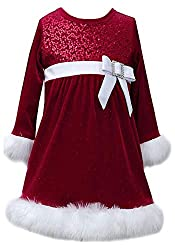 Velvet and Sequin Christmas Dress with Faux Fur