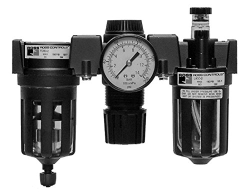 "Ross Controls C5M00B2111 Mid-Size Series Filter Regulator Plus Lubricator, 4 (120) Polycarbonate Bowls, 5 µm Polyethylene Filter, Piston, 0-100 (0-6.9) psi, 0-100 (0-6.9) Gauge, Pipe Nipples 1/4"" BSPP"