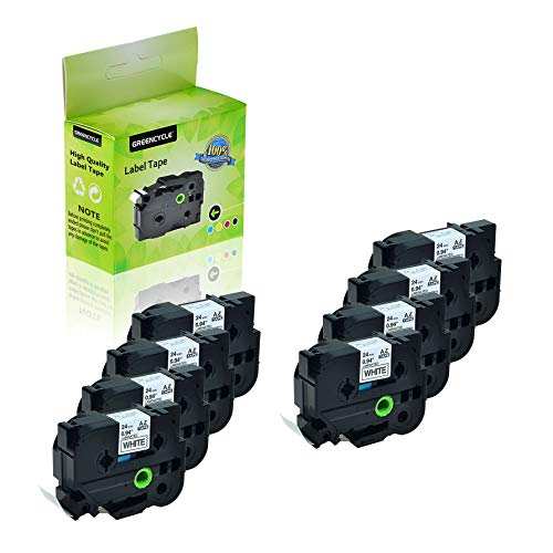 GREENCYCLE 8-Pack Compatible 1 Inch 24mm Black on White Cassettes TZe251 TZe-251 TZ-251 TZ251 Standard Laminated Label Tape for Brother P Touch PTD600 PTP750W PTP710BT PTP700 PTE500 PTE550W
