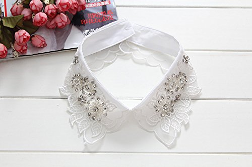 (Women Sweater Shirt Tie Cotton Hollow Lace Flower Fake Collar Detachable Peter Pan False Collar Rhinestone Crystal Denim Blouses Pictures7)
