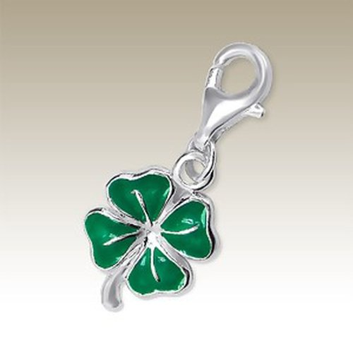 (Four Leaf Clover Charm with Lobster Clasp, Sterling Silver 925, for Charms Bracelet, Necklace (E5993) )