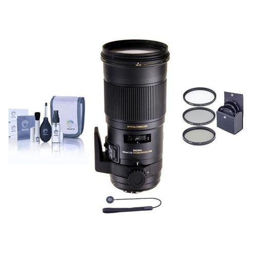 Adorama Sigma 180mm f/2.8 EX DG OS HSM APO Macro Lens for Sony Cameras - Bundle - with Pro Optic Pro Digital 86mm MC UV Filter, Flashpoint CapKeeper CK-2 & Cleaning Kit for Optics & Cameras