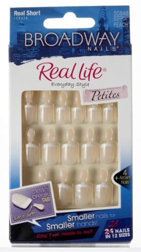 Kiss Broadway Nails Kit, Real Short Length, Peach, 24 Count by - Broadway Shopping Mall