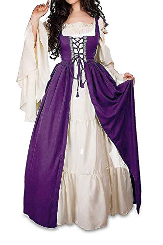 Abaowedding Womens's Medieval Renaissance Costume Cosplay Chemise and Over Dress 2X-large/3X-Large Plum and ()