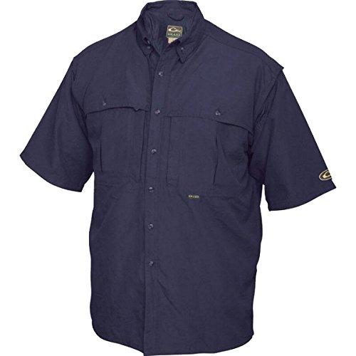 Drake Vented Wingshooter's Short Sleeve Casual Shirt (Small, Navy)