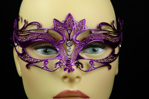 Laser Cut Venetian Halloween Masquerade Mask Costume Extravagantly Simple Inspire Design - Purple w/ (Simple Venetian Masks)