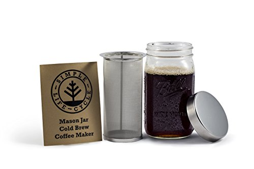 Mason Jar Cold Brew Coffee Maker & Iced Tea Maker | Quart (32oz) | Cold Brew System With Stainless Steel Lid & Filter | by Simple Life Cycle (Stainless Steel, 32oz) by Simple