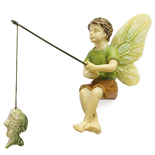 Woodland Knoll Miniature Fairy Garden Fishing Boy Mg253