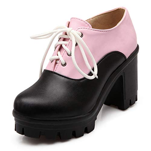 Womens Vintage Platform Chunky High Heel Lace Up Oxfords Classic Two Tone Dress Pumps Pink