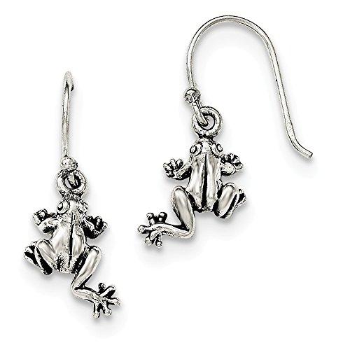 (925 Sterling Silver Frog Shepherd Hook Drop Dangle Chandelier Earrings Animal Wild Fine Jewelry Gifts For Women For Her)