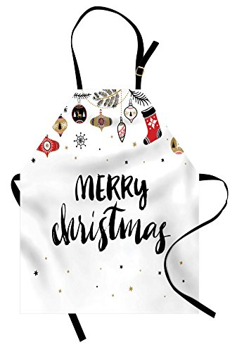 Ambesonne Christmas Apron, Merry Xmas Words Modern