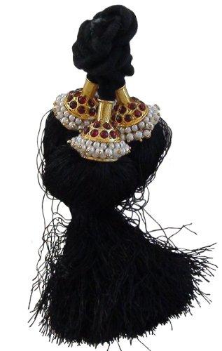 [Hair kunjalam Temple Jewelry style Small 2 line for Bharatanatyam and Kuchipudi dance] (Bharatanatyam Dance Costume Traditional)