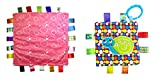 Little Taggie Like Theme Baby Sensory, Security & Teething Closed Ribbon Style Colors Security Comforting Teether Blanket - Cute Circles & Snail 2-Pack w/Gift Box