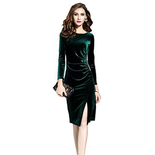 Velvet Holiday Dress (Women's Long Sleeve Green Velvet Dress - Crewneck Bodcon Cocktail Party Dress (S, Green))